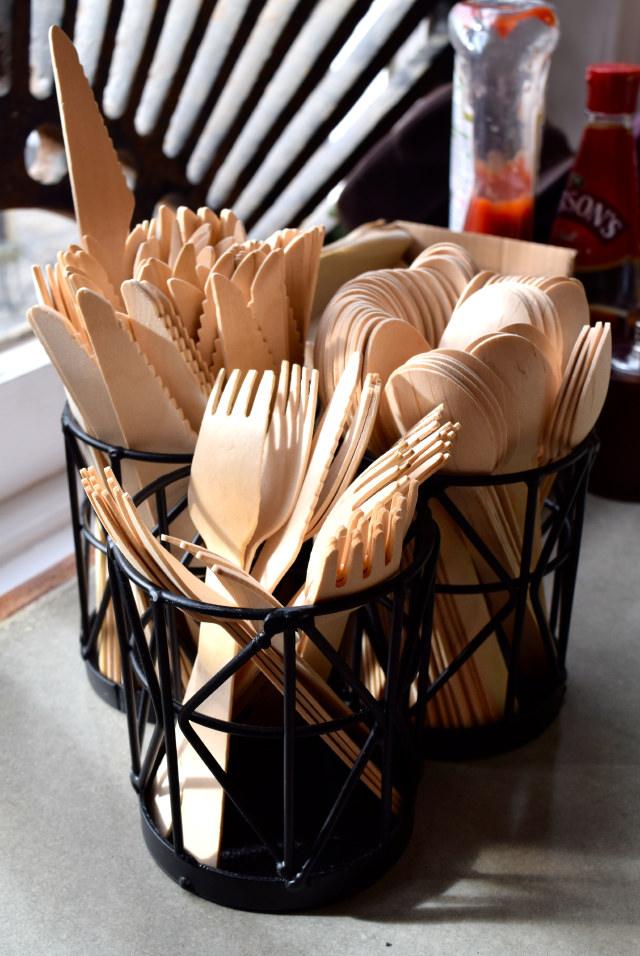 Wooden Cutlery at Little Joe's Deli, Canterbury | www.rachelphipps.com @rachelphipps