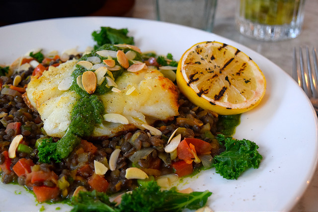 Baked Cod with Sticky Lentils at No. 11 Pimlico Road, London | www.rachelphipps.com @rachelphipps