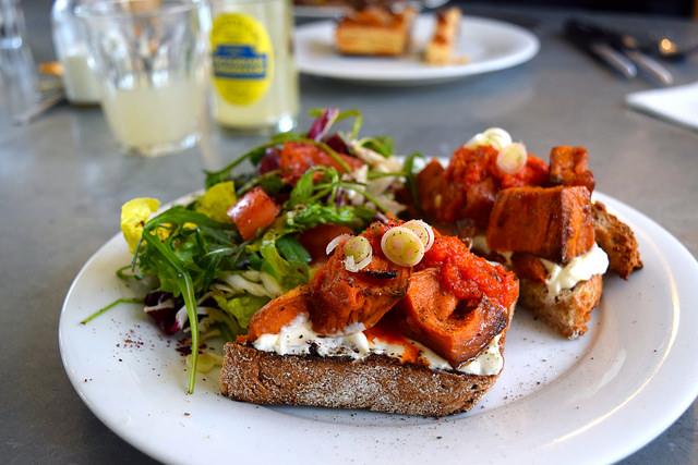 Roast Sweet Potato & Labneh on Toast with a Green Salad at Pop Up Cafe, Deal | www.rachelphipps.com @rachelphipps