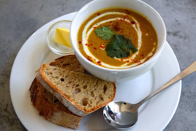 Cauliflower Soup & Homemade Sourdough at Pop Cafe, Deal | www.rachelphipps.com @rachelphipps