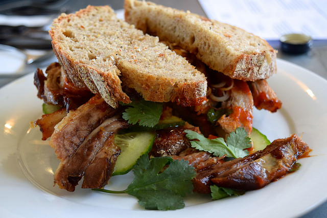 Pork Belly Hoisin & Sriracha Sandwich at Pop Up Cafe, Deal | www.rachelphipps.com @rachelphipps