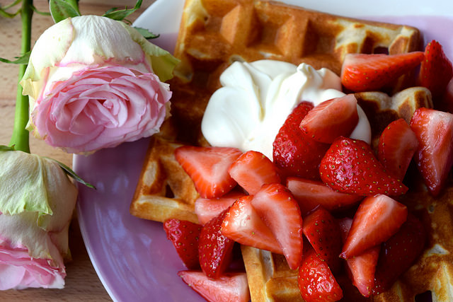 Buttermilk Waffles with Rose Syrup Strawberries & Crème Fraîche | www.rachelphipps.com @rachelphipps