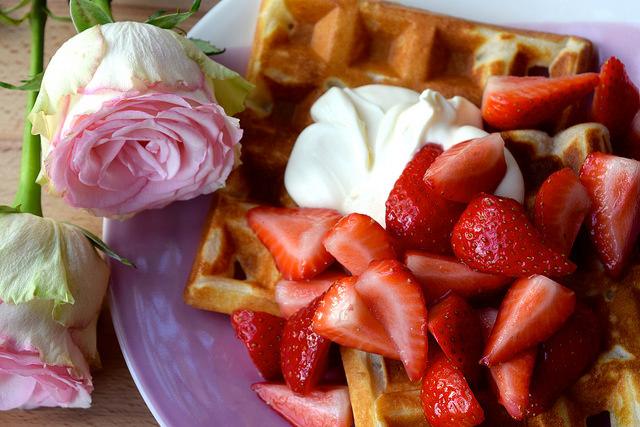 Buttermilk Waffles with Rose Syrup Strawberries & Crème Fraîche | www.rachelphipps.com @rachelphipps