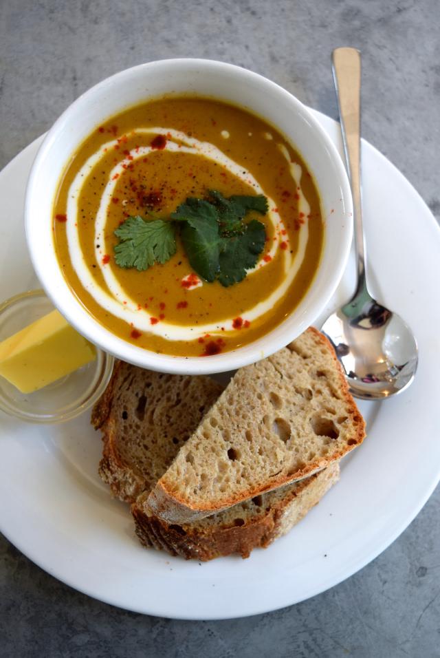 Roasted Cauliflower Soup at The Pop Up Cafe, Deal | www.rachelphipps.com @rachelphipps