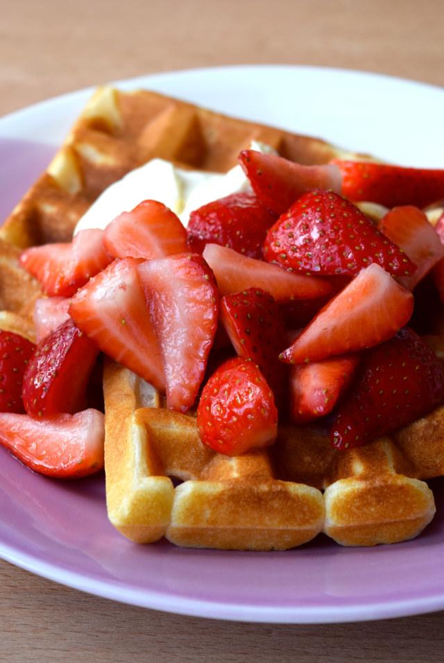 Buttermilk Waffles with Strawberries & Creme Fraiche | www.rachelphipps.com @rachelphipps