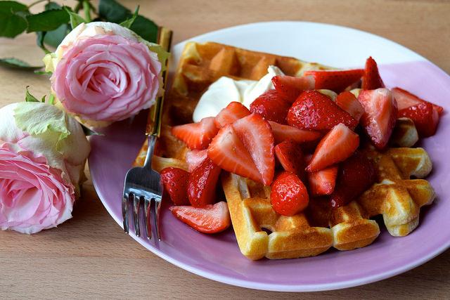 Waffles with Rose Syrup Strawberries & Crème Fraîche | www.rachelphipps.com @rachelphipps