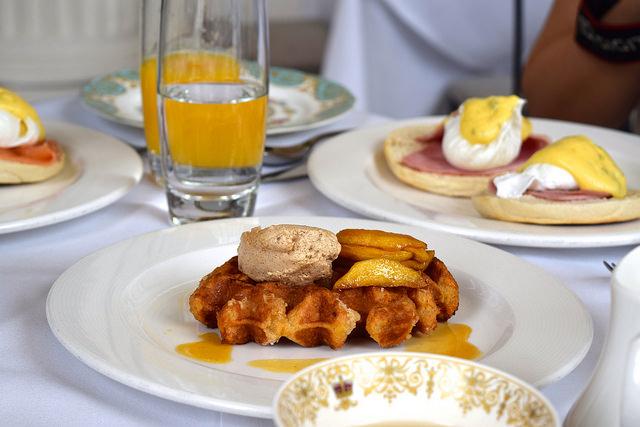 Waffles with Caramalised Apples & Cinnamon Cream at The Orangery, Kensington Palace | www.rachelphipps.com @rachelphipps