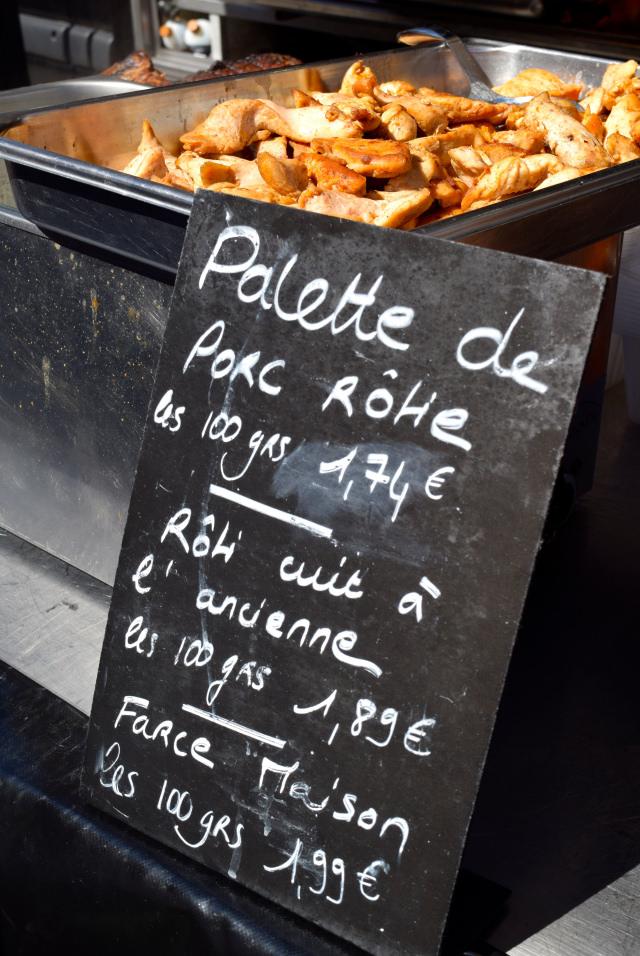 Grilled Pork at Combourg Market, Brittany | www.rachelphipps.com @rachelphipps