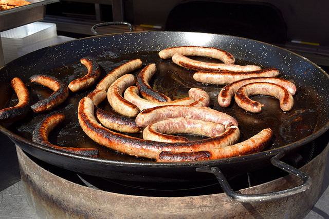 Hot Sausages at Combourg Market, Brittany | www.rachelphipps.com @rachelphipps