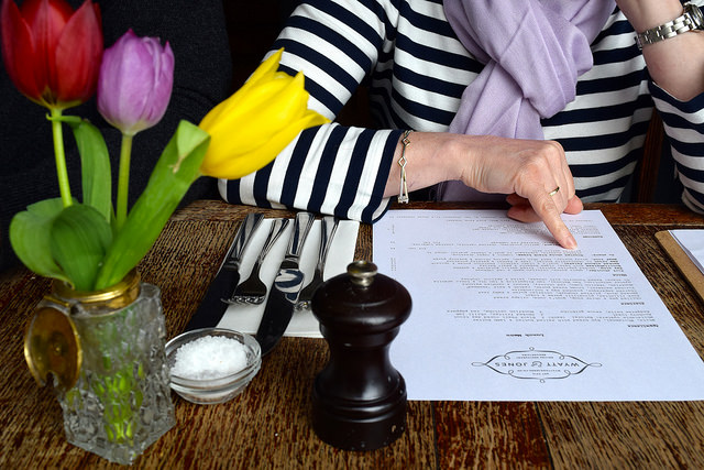 Browsing the Menu at Wyatt and Jones, Broadstairs | www.rachelphipps.com @rachelphipps