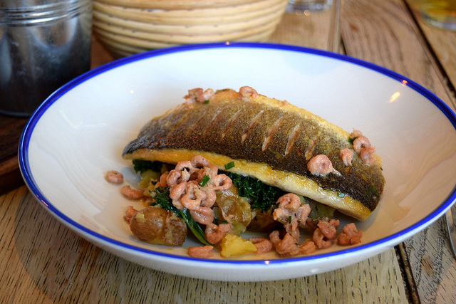 Sea Bass with Brown Shrimp Butter, Kale & Crushed Potatoes at The Duke William, Ickham | www.rachelphipps.com @rachelphipps