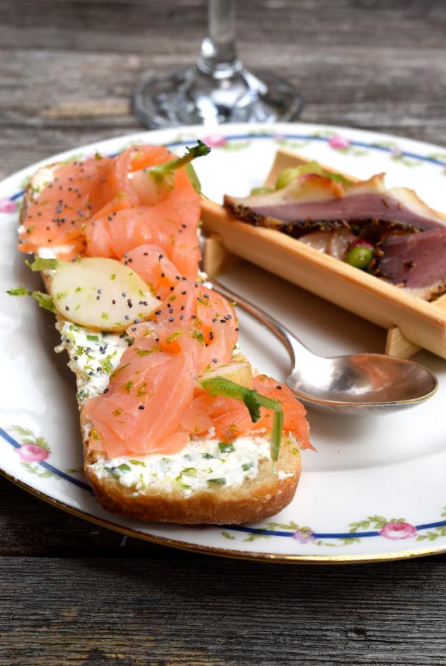 Salmon Tartines at Chateau de Lissac | www.rachelphipps.com @rachelphipps