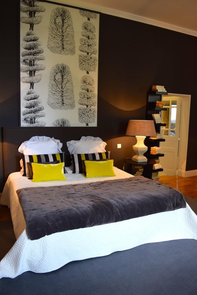 Yellow & Grey Bedroom at Chateau de Lissac | www.rachelphipps.com @rachelphipps