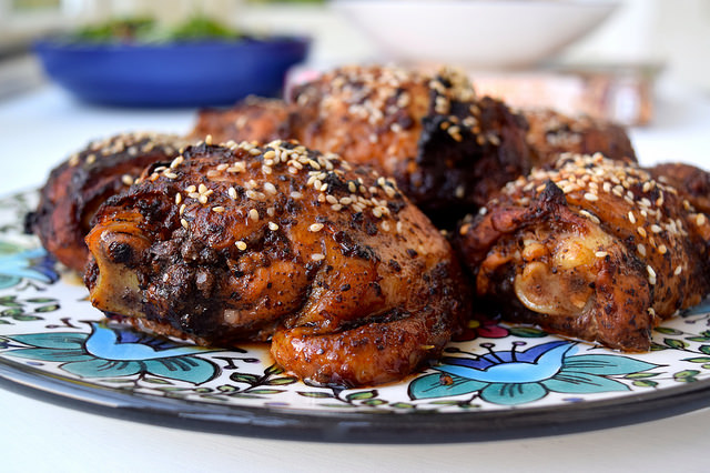 Oven-roasted Chicken with Sumac, Pomegranate Molasses, Chilli and Sesame Seeds | www.rachelphipps.com @rachelphipps