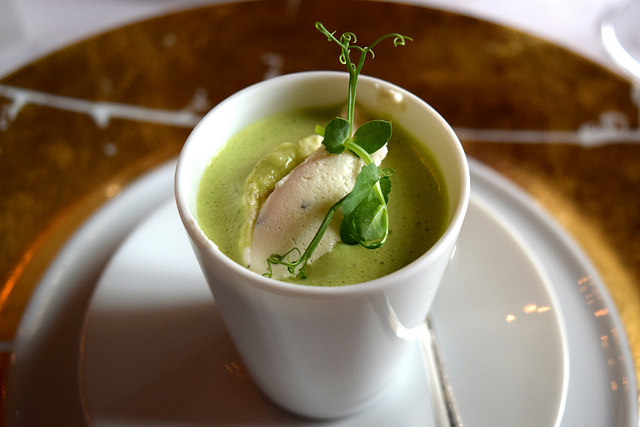 Green Pea Soup with Truffle Cream at Chateau de la Treyne | www.rachelphipps.com @rachelphipps