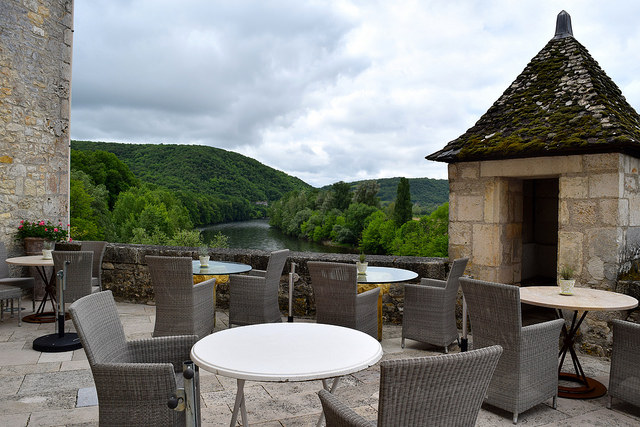 Terrace at Chateau de la Treyne | www.rachelphipps.com @rachelphipps