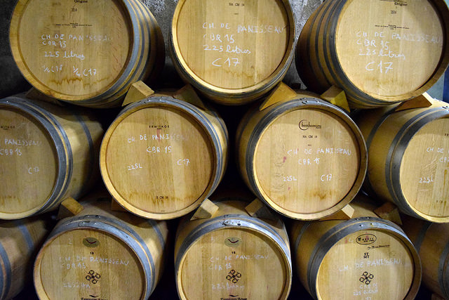 Wine Barrels at Chateau Panniseau | www.rachelphipps.com @rachelphipps