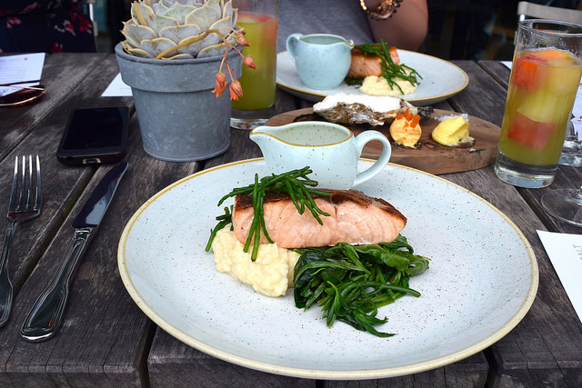 Pan Fried Salmon with Sea Vegetables, Samphire and Crushed Celeriac with Gin Mare Butter Sauce at Rocksalt, Folkestone | www.rachelphipps.com @rachelphipps