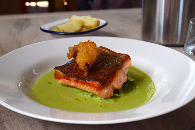 Sea Trout with Pea Sauce and Green Beans at The Sportsman, Seasalter | www.rachelphipps.com @rachelphipps