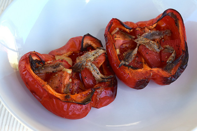 Italian Roasted Peppers with Tomatoes and Anchovies | www.rachelphipps.com @rachelphipps