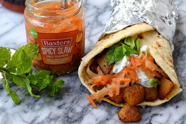 Indian Spiced Potato Wraps with Raita & Spicy Slaw | www.rachelphipps.com @rachelphipps