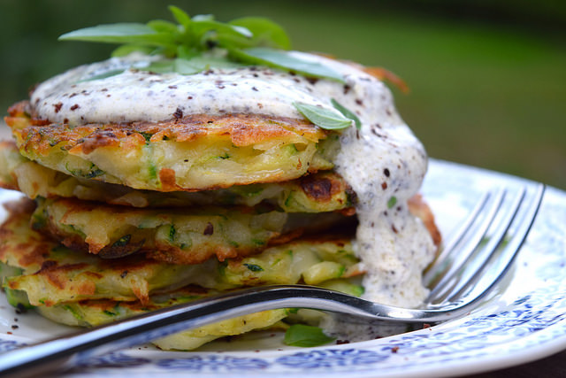 Courgette & Potato Fritters with Sumac Sauce | www.rachelphipps.com @rachelphipps