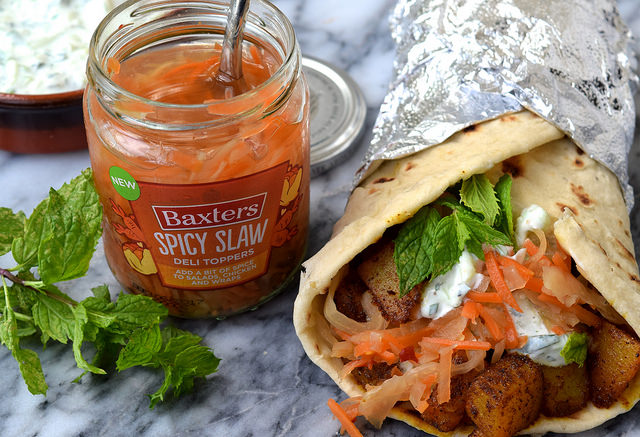 Indian Spiced Potato Wraps with Easy Raita & Spicy Slaw | www.rachelphipps.com @rachelphipps