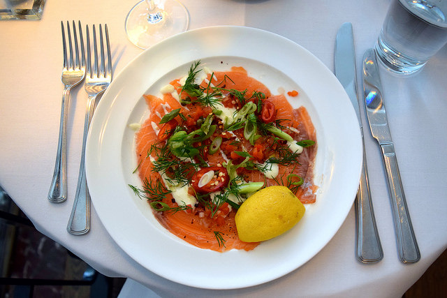 Salmon Carpachio at Cafe Monico, Soho | www.rachelphipps.com @rachelphipps