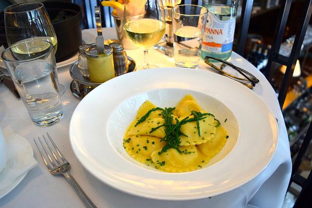 Crab Ravioli with Samphire at Cafe Monico, Soho | www.rachelphipps.com @rachelphipps