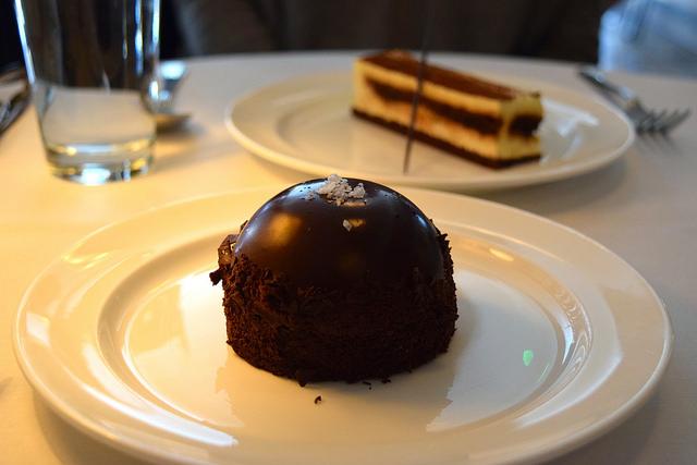 Salted Caramel Chocolate Bombe at Cafe Monico, Soho | www.rachelphipps.com @rachelphipps