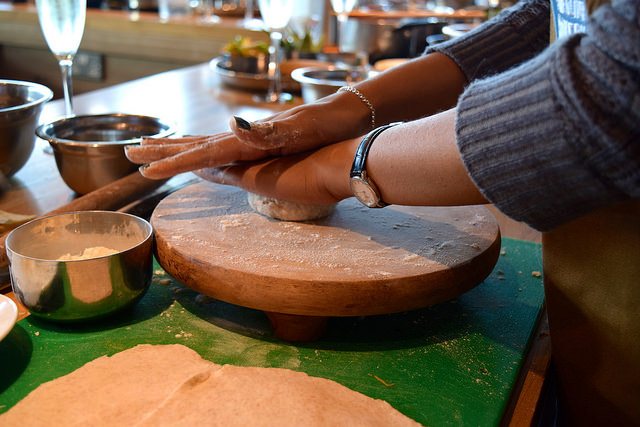 Rolling Chapati at The Jamie Oliver Cookery School | www.rachelphipps.com @rachelphipps