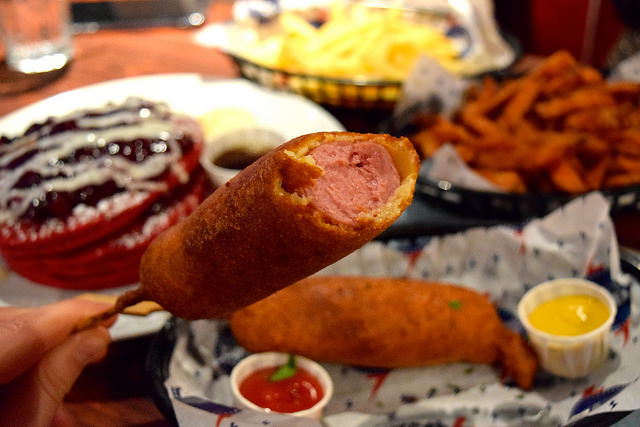 Corn Dogs from the new menu at The Diner, Soho | www.rachelphipps.com @rachelphipps