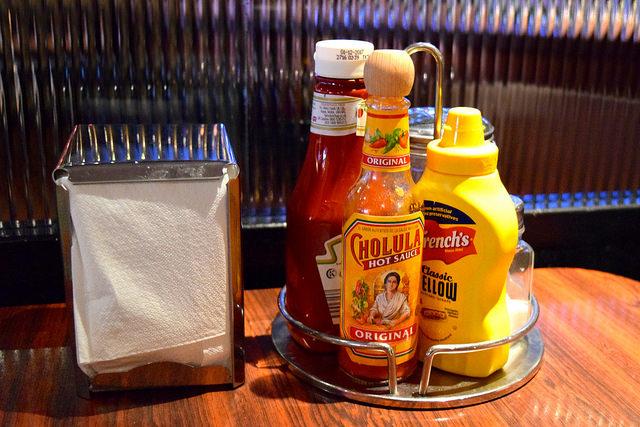 Ketchup, Mustard and Hot Sauce at The Diner, Soho | www.rachelphipps.com @rachelphipps