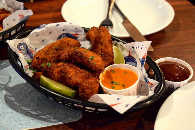 Chicken Strips with Spicy Buffalo Sauce at The Diner, Soho | www.rachelphipps.com @rachelphipps