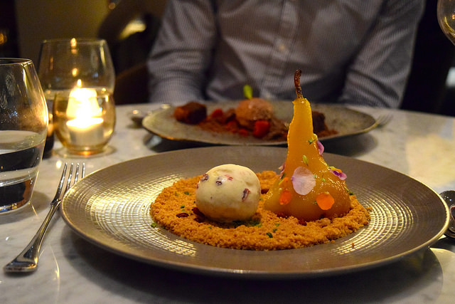 Chilli & Thyme Poached Pear with Pistachio Crumble and Barberry Ice Cream at Samarkand, Fitzrovia | www.rachelphipps.com @rachelphipps