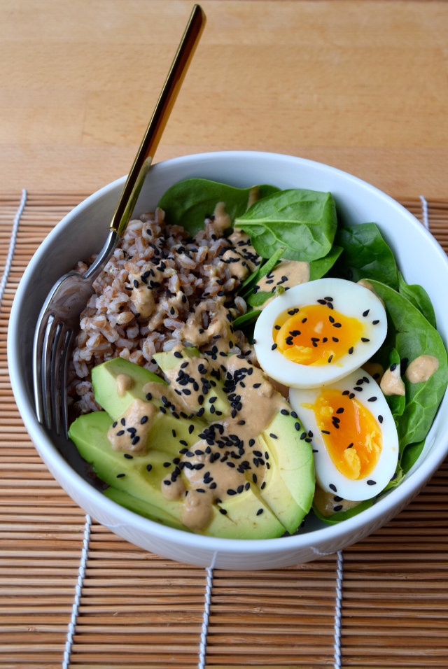 Farro, Avocado & Egg Breakfast Bowl with Miso Yogurt Dressing | www.rachelphipps.com @rachelphipps
