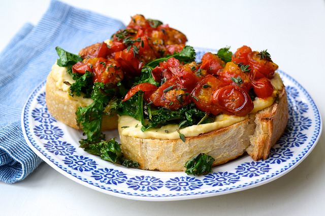 Hummus, Crispy Kale & Thyme Roasted Tomatoes on Toast | www.rachelphipps.com @rachelphipps