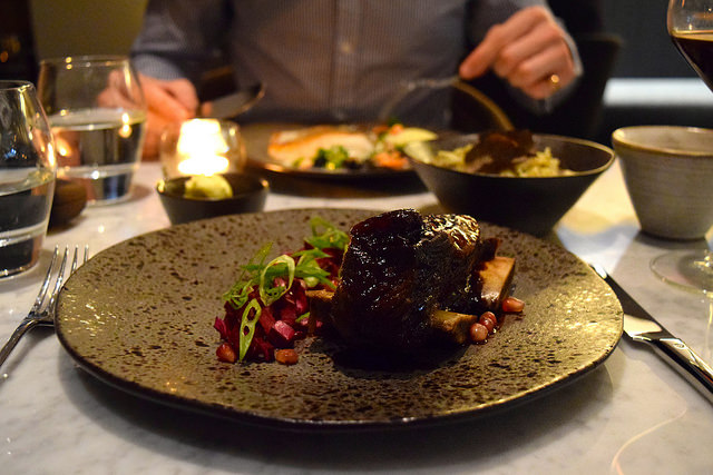 Slow Cooked Beef Short Rib with Picked Red Cabbage & Pomegranate Glaze at Samarkand, Fitzrovia | www.rachelphipps.com @rachelphipps