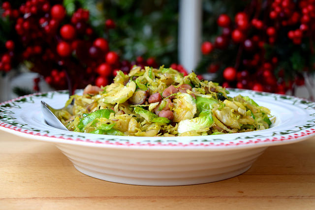 Sprouts with Bacon, Chestnuts & Caraway Seeds | www.rachelphipps.com @rachelphipps