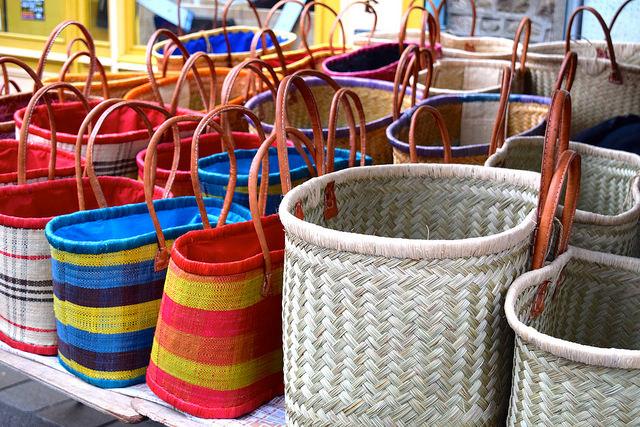 Baskets at Combourg Market, Brittany | www.rachelphipps.com @rachelphipps