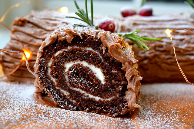 Christmas Chocolate Yule Log filled with Brandy Crème Fraîche | www.rachelphipps.com @rachelphipps