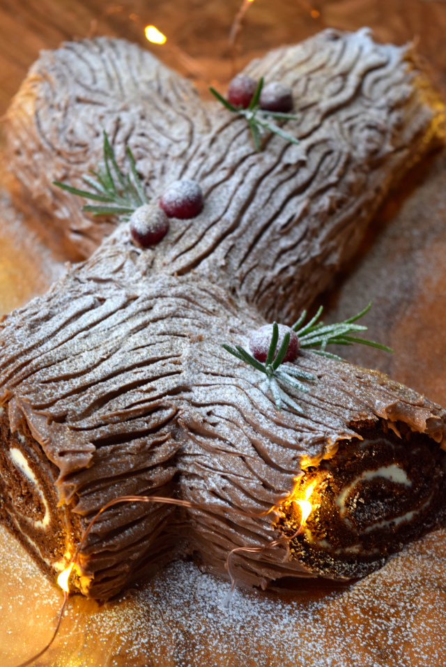 Chocolate Yule Log with Brandy Crème Fraîche