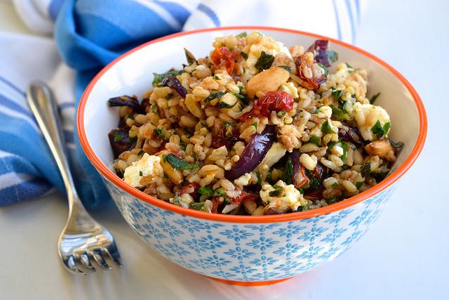 Roasted Almond, Tomato & Feta Five Grain Bowl | www.rachelphipps.com @rachelphipps