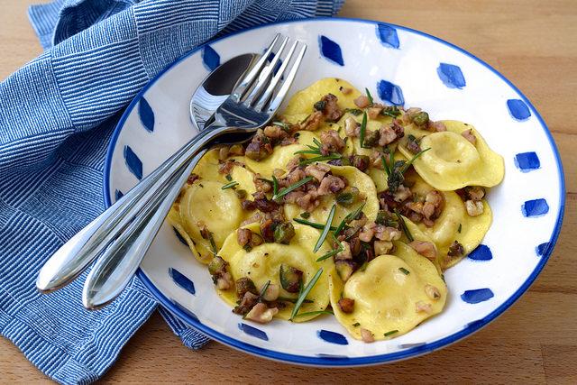 Ravioli in a Nutty Herby Butter   www.rachelphipps.com @rachelphipps