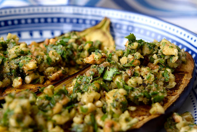 Roast Aubergine with Anchovy, Walnuts & Parsley | www.rachelphipps.com @rachelphipps