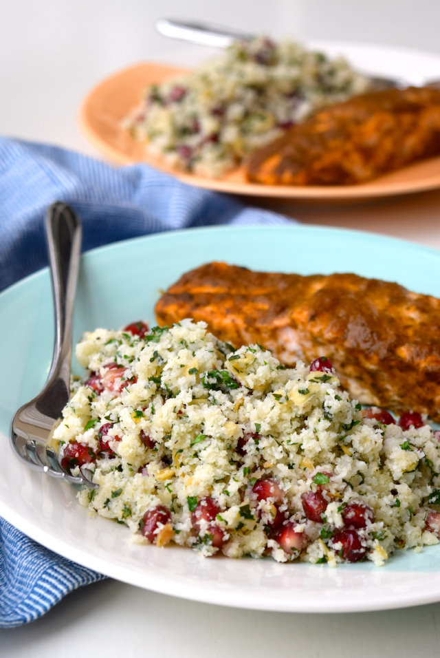 Curried Salmon with Cauliflower Tabbouleh | www.rachelphipps.com @rachelphipps