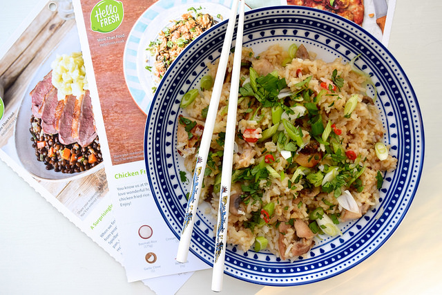 Chicken & Mushroom Fried Rice from the HelloFresh Recipe Box | www.rachelphipps.com @rachelphipps