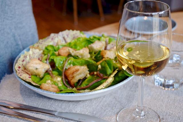 Butter Lettuce, Ortiz Anchovy, Garlic Croutons | www.rachelphipps.com @rachelphipps