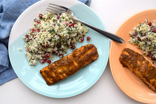 20 Minute Quick Curried Salmon with Cauliflower Tabbouleh | www.rachelphipps.com @rachelphipps