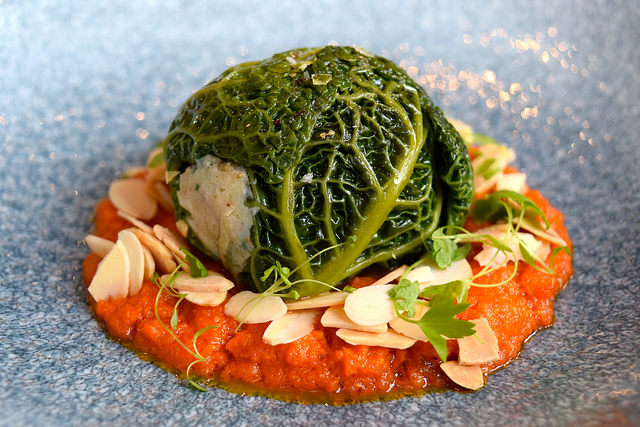 Rabbit, Chorizo, Savoy Cabbage, Romesco Sauce at The Wife of Bath, Wye | www.rachelphipps.com @rachelphipps